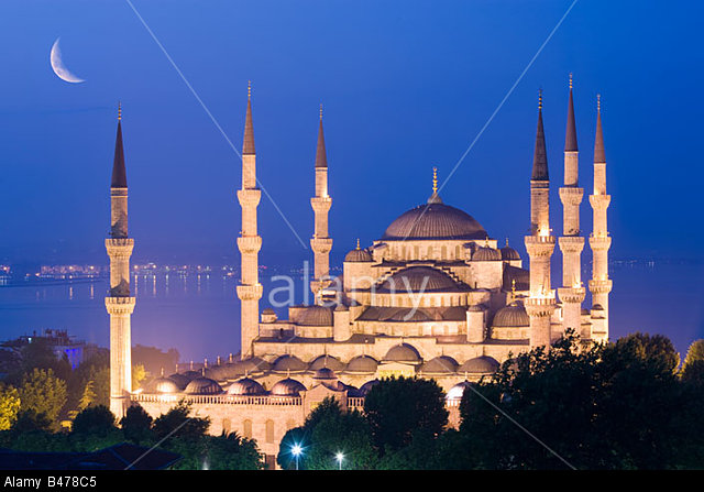 Crescent moon over Sultan Ahmed Mosque Blue Mosque Turkey Istanbul