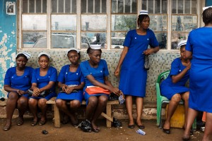 Nursing-students-in-Freetown-Sierra-Leone-wait-to-take-their-final-qualifying-exams-so-they-can-join-the-fight-against-Ebola.-300x200