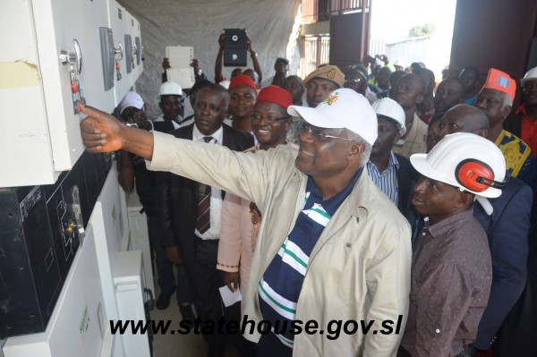 PRESIDENT KOROMA SWITCHES LIGHT IN KONO