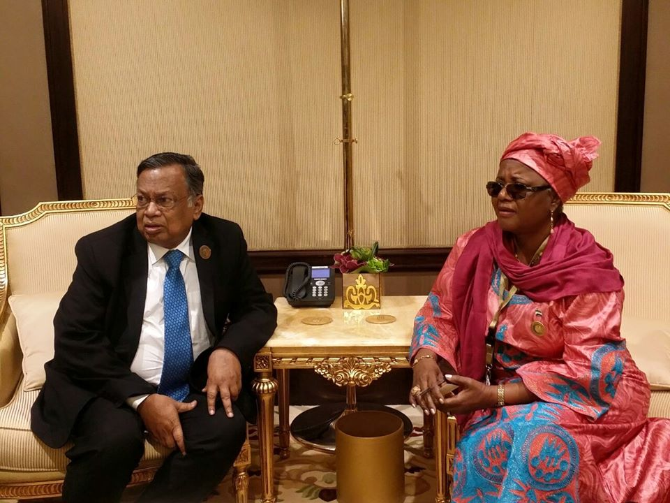 Dr. Ebun Strasser King with the Bangladeshi Foreign Minister after bilateral discussions