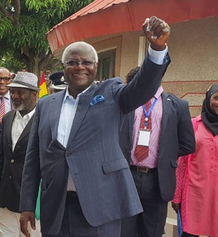 PRESIDENT ERNEST KOROMA ( RIGHT ) RAISES HIS FIST IN OPTIMISM AND AFFIRMATION  OF THE FACT THAT EBOLA WILL EVENTUALLY BE DEFEATED WHILE PRESIDENTS SIRLEAF AND CONDE SHARE HIS OPTIMISM. THE THREE LEADERS WILL BE IN NEW YORK NEXT WEEK FOR AN INTERNATIONAL POST-EBOLA RECOVERY CONFERENCE.