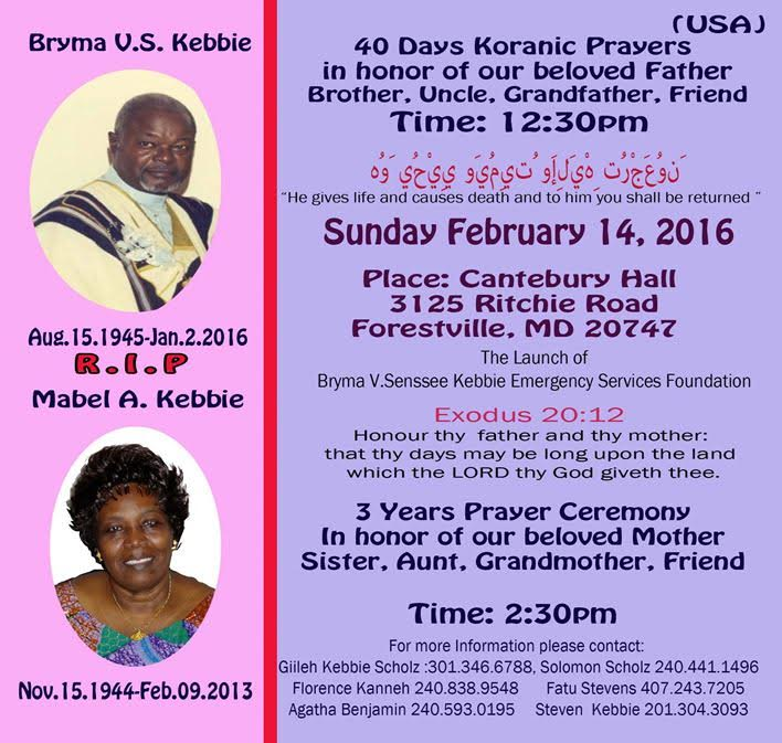 Koranic prayers in honor Bryma & Mabel Kebbie