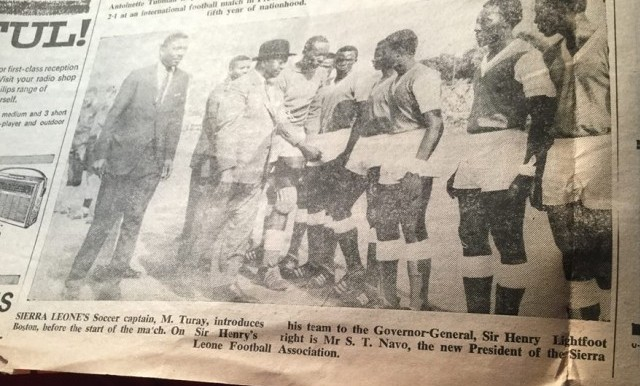 Mahmoud Turay as Captain of the Sierra Leone National Team : credit KABS KANU OF COCORIOKO ( From the Sierra Leone Daily Mail Monday May 2, 1966