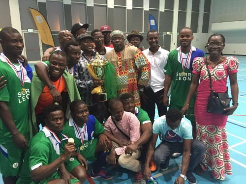 Amb. Timbo, the players and his nationals in jubilant mood after victory