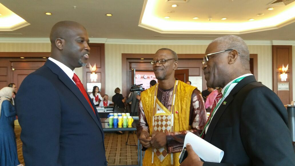 Dr. Gibril Sesay and Amb. Kargbo discussing regional issues with Gambian Justice minister, Abubacarr Tambadou at the OIC Meeting in Istanbul